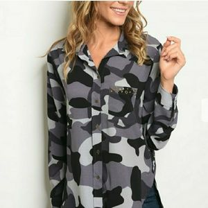 🆕Grey Camouflage Blouse🆕